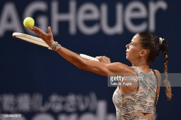 Camila Giorgi of Italy serves to Dayana Yastremska of Ukraine during 31st Palermo Ladies Open Quarter Finals on August 07 2020 in Palermo Italy