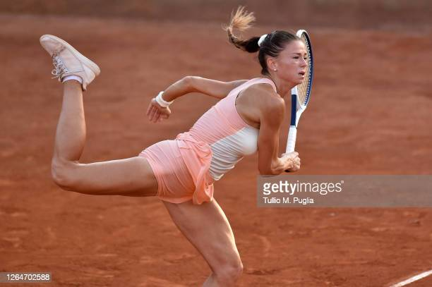 Camila Giorgi of Italy serves to Fiona Ferro of France during 31st Palermo Ladies Open Semi Finals on August 08, 2020 in Palermo, Italy.