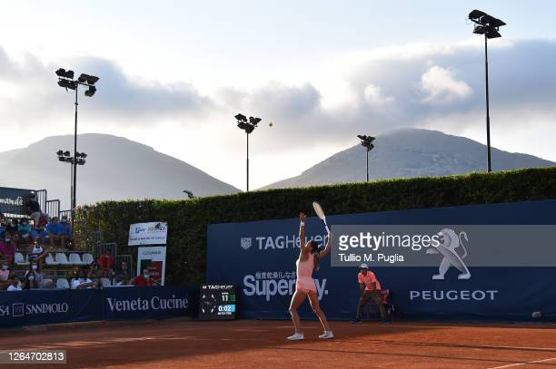 Camila Giorgi of Italy serves to Fiona Ferro of France during 31st Palermo Ladies Open Semi Finals on August 08 2020 in Palermo Italy