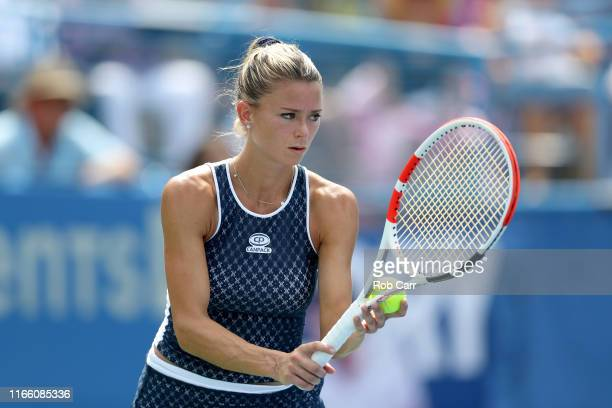 Camila Giorgi of Italy serves to Jessica Pegula of the United States during the women's singles final of the Citi Open at Rock Creek Tennis Center on...