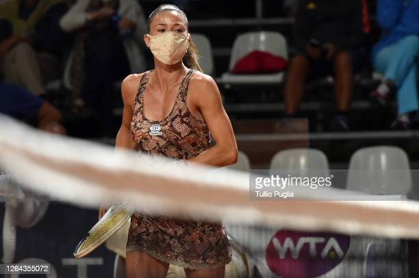 Camila Giorgi of Italy wears a face mask before her match against Kaja Juvan of Slovenia during the 31st Palermo Ladies Open Day Four on August 06...