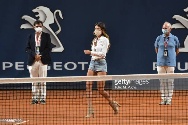 Camila Giorgi of Italy wears a face mask during the opening ceremony of the 31st Palermo Ladies Open Day One on August 03 2020 in Palermo Italy