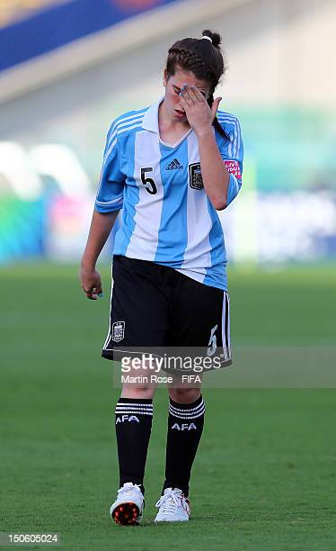 Camila Gomez Ares of Argentina looks dejected during the FIFA U20 Women's World Cup 2012 group C match between Korea DPR and Argentina at Kobe...