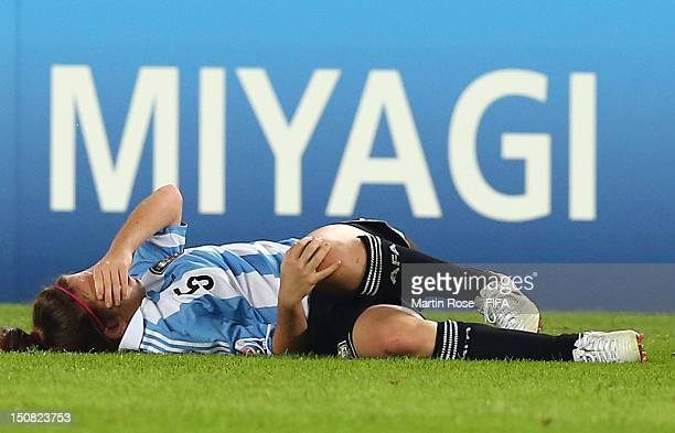 Camila Gomez Ares of Argentina reacts during the FIFA U20 Women's World Cup 2012 group C match between Norway and Argentina at Miyagi Stadium on...