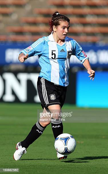 Camila Gomez Ares of Argentina runs with the ball during the FIFA U20 Women's World Cup 2012 group C match between Korea DPR and Argentina at Kobe...