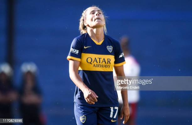 Camila Gomez Ares of Boca Juniors celebrates after scoring the fourth goal of his team during a match between Boca Juniors and River Plate as part of...