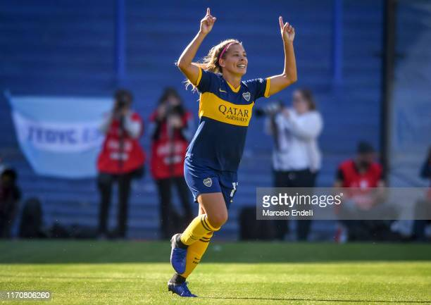 Camila Gomez Ares of Boca Juniors celebrates after scoring the second goal of her team during a match between Boca Juniors and River Plate as part of...