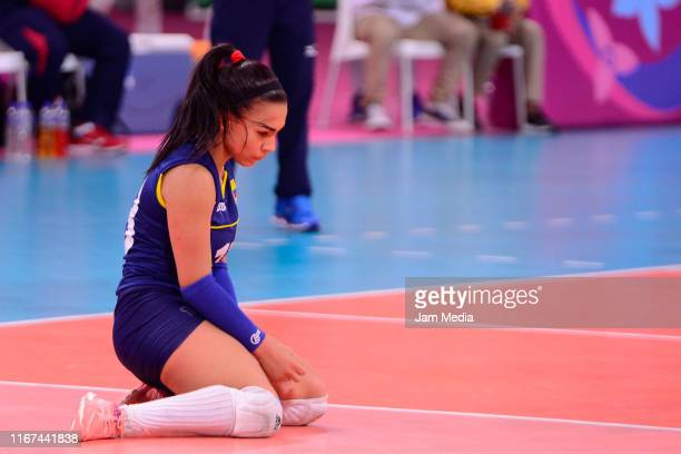 Camila Gomez of Colombia reacts during the Women's Volleyball Final match between Colombia and Dominic Republic at Polideportivo Callao of Villa...