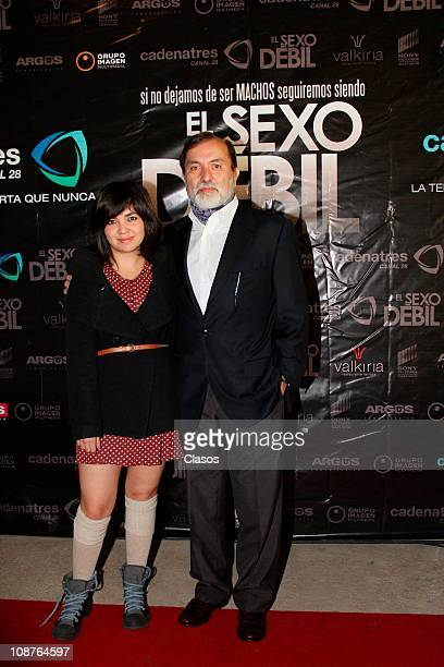 Camila Ibarra Epigmenio Ibarra pose for a photo during the red carpet of the tv show El Sexo Debil at Valquiria Restaurant on February 1 2011 in...