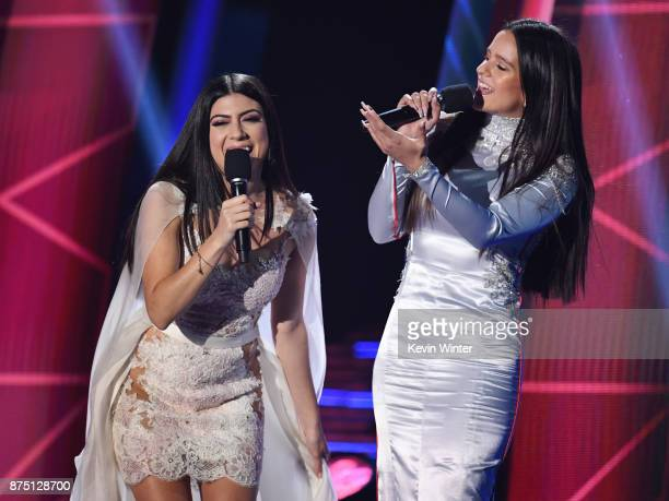 Camila Luna and Rosalia speak onstage at the 18th Annual Latin Grammy Awards at MGM Grand Garden Arena on November 16 2017 in Las Vegas Nevada