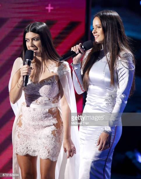 Camila Luna and Rosalia speak onstage during the 18th Annual Latin Grammy Awards held at MGM Grand Garden Arena on November 16 2017 in Las Vegas...