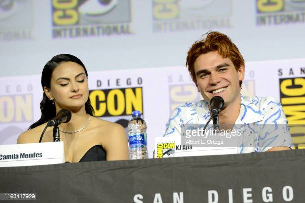 Camila Mendes and KJ Apa speak at the Riverdale Special Video Presentation and QA during 2019 ComicCon International at San Diego Convention Center...