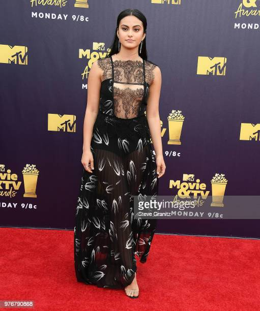 Camila Mendes arrives at the 2018 MTV Movie And TV Awards at Barker Hangar on June 16 2018 in Santa Monica California