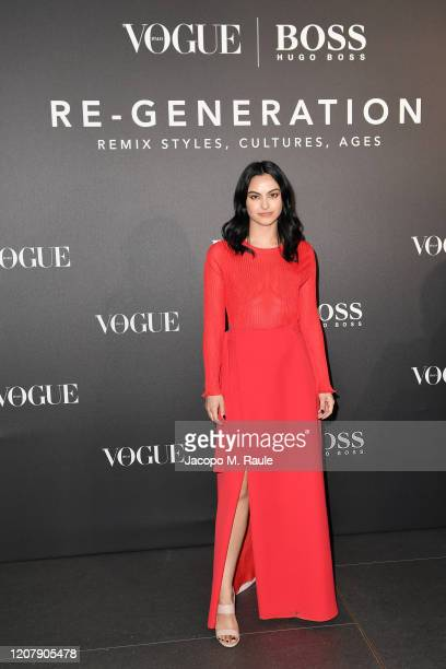 Camila Mendes arrives for the BOSS & VOGUE Italia Event at Hotel Viu Milan on February 21, 2020 in Milan, Italy.