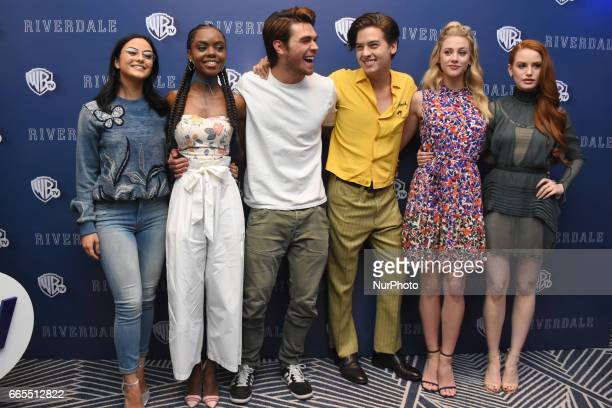 Camila Mendes Ashleigh Murray KJ Apa Cole Sprouse Lili Reinhart Madelaine Petsch poses during a photocall to promote Riverdale Tv Series at Four...