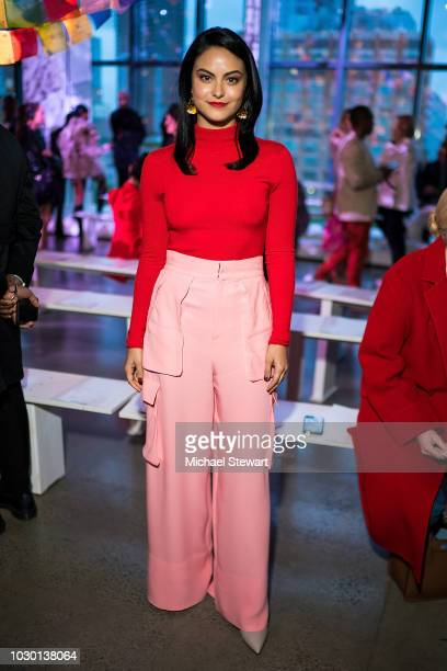 Camila Mendes attends the Prabal Gurung fashion show during New York Fashion Week: The Shows at Gallery I at Spring Studios on September 9, 2018 in...