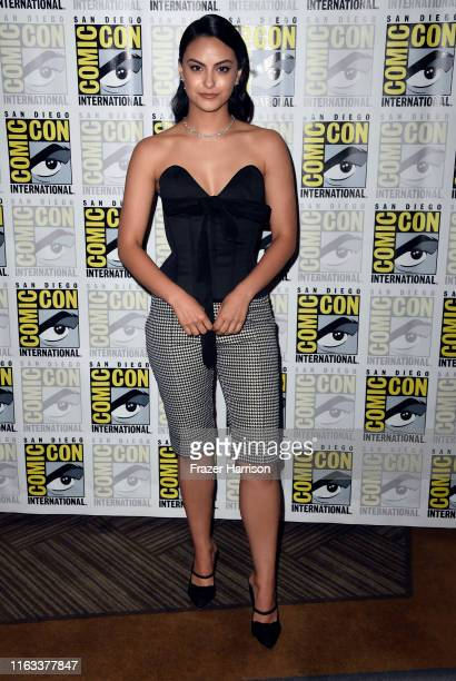 "Camila Mendes attends the ""Riverdale"" Photo Call during 2019 Comic-Con International at Hilton Bayfront on July 21, 2019 in San Diego, California."
