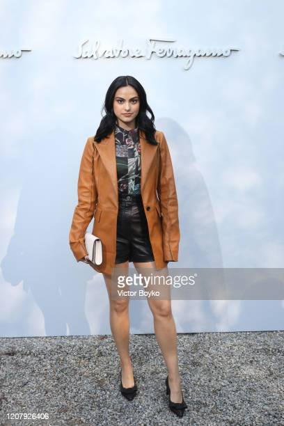 Camila Mendes attends the Salvatore Ferragamo show during during Milan Fashion Week Fall/Winter 2020/2021 on February 22, 2020 in Milan, Italy.