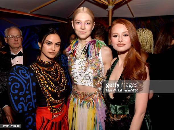 Camila Mendes Hunter Schafer and Madelaine Petsch attend the 2020 Vanity Fair Oscar Party hosted by Radhika Jones at Wallis Annenberg Center for the...
