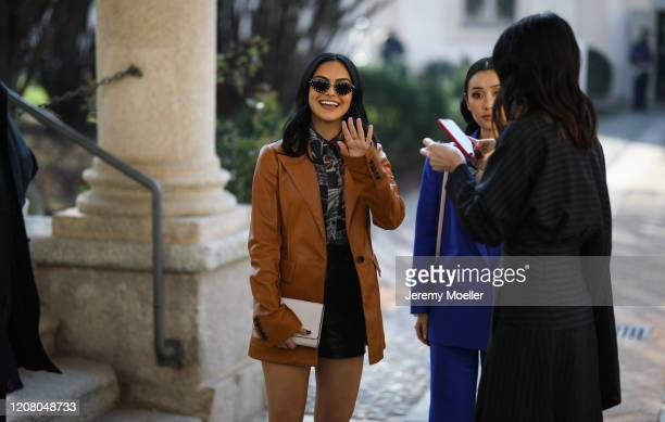 Camila Mendes is seen before the Salvatore Ferragamo show during Milan Fashion Week Fall/Winter 2020-2021 on February 22, 2020 in Milan, Italy.