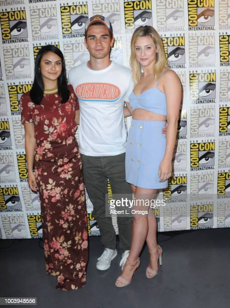 Camila Mendes KJ Apa and Lili Reinhart attend the 'Riverdale' special video presentation and QA during ComicCon International 2018 at San Diego...