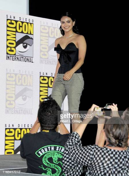 Camila Mendes speaks at the Riverdale Special Video Presentation and QA during 2019 ComicCon International at San Diego Convention Center on July 21...