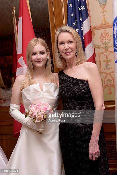 Camila Mendoza Echavarria and Anne Eisenhower attend 62nd International Debutante Ball at The Pierre Hotel on December 29 2016 in New York City