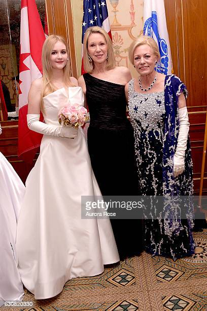 Camila Mendoza Echavarria Anne Eisenhower and Julia Irene Kauffman attend 62nd International Debutante Ball at The Pierre Hotel on December 29 2016...