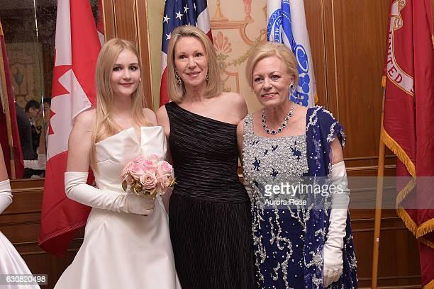 Camila Mendoza Echavarria Anne Eisenhower and Julia Irene Kauffman attend 62nd International Debutante Ball at The Pierre Hotel on December 29 2016...