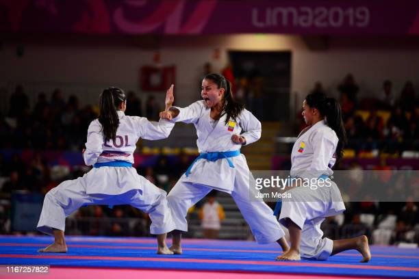 Camila Moreno Diana Munoz and Natalia Pachon of Colombia competes during Team Women's Kata Bronze Medal Bout 1 at Villa El Salvador Sports Center on...