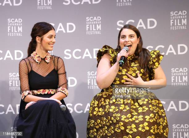 Camila Morrone and Beanie Feldstein speak onstage during the Breakout Awards panel at the 22nd SCAD Savannah Film Festival on October 30, 2019 at...