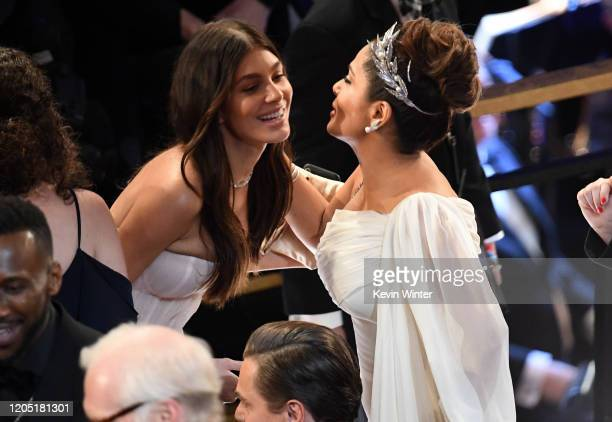 Camila Morrone and Salma Hayek attend the 92nd Annual Academy Awards at Dolby Theatre on February 09 2020 in Hollywood California