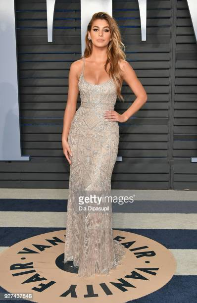 Camila Morrone attends the 2018 Vanity Fair Oscar Party hosted by Radhika Jones at Wallis Annenberg Center for the Performing Arts on March 4 2018 in...