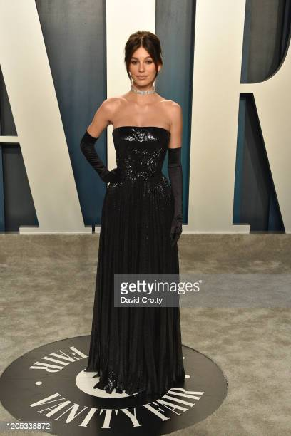 Camila Morrone attends the 2020 Vanity Fair Oscar Party at Wallis Annenberg Center for the Performing Arts on February 09 2020 in Beverly Hills...