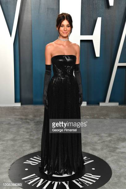 Camila Morrone attends the 2020 Vanity Fair Oscar party hosted by Radhika Jones at Wallis Annenberg Center for the Performing Arts on February 09,...