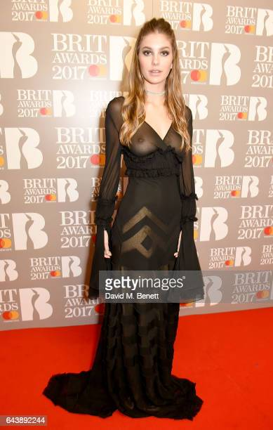 EDITORIAL USE ONLY Camila Morrone attends The BRIT Awards 2017 at The O2 Arena on February 22 2017 in London England