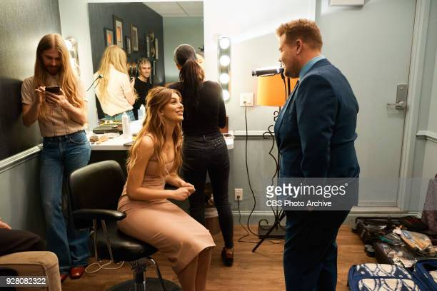Camila Morrone chats in the green room with James Corden during 'The Late Late Show with James Corden' Thursday March 1 2018 On The CBS Television...
