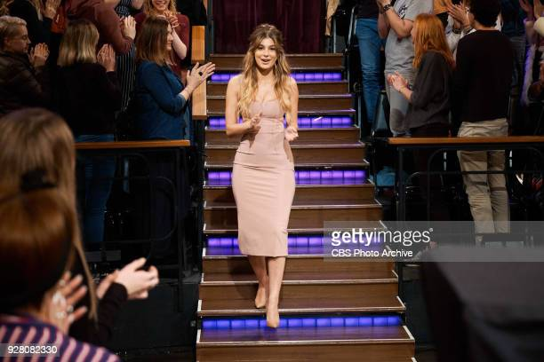 Camila Morrone greets the audience during 'The Late Late Show with James Corden' Thursday March 1 2018 On The CBS Television Network