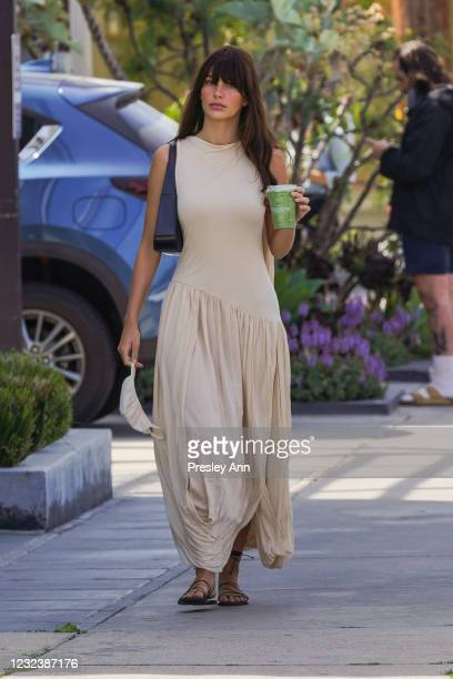 Camila Morrone is seen on April 15, 2021 in Los Angeles, California.
