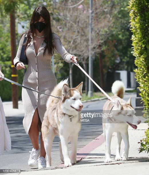 Camila Morrone walking her dogs on April 17, 2021 in Los Angeles, California.