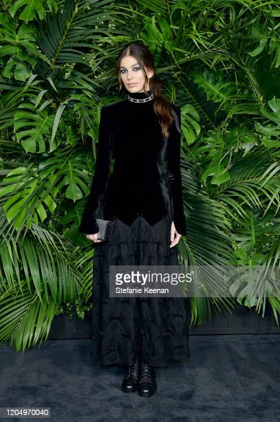 Camila Morrone wearing CHANEL attends CHANEL and Charles Finch PreOscar Awards Dinner at Polo Lounge at The Beverly Hills Hotel on February 08 2020...