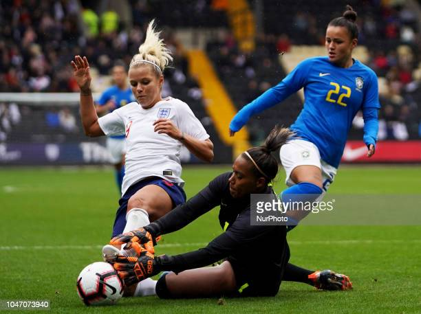 LR Camila of Brazil and Rachel Daly of England during International Friendly between England Women and Brazil Women at Meadow Lane stadium Notts...