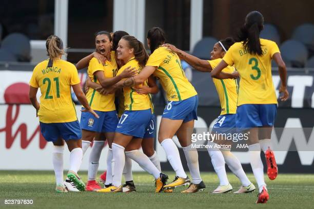 Camila of Brazil celebrates after scoring a goal to make it 11 during the 2017 Tournament Of Nations match between Japan and Brazil at CenturyLink...