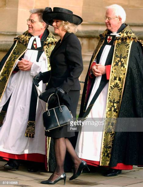 Camila Parker Bowles arrives the funeral of Sir Angus Ogilvy held in St Georges Chapel of Winmdsor Castle on January 5 2005 in Windsor England Sir...