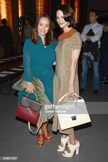 Camila Raznovich and Asia Argento attend the Trussardi Spring/Summer 2013 fashion show as part of Milan Womenswear Fashion Week on September 23 2012...
