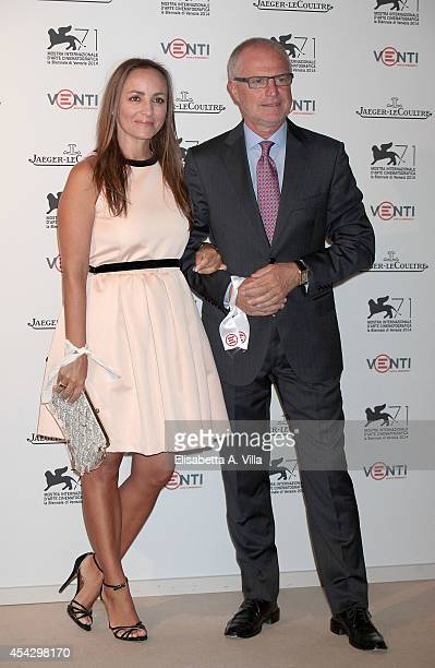 Camila Raznovich and Claudio Ange director of JaegerLeCoultre Italy attend JaegerLeCoultre Celebrates Emergency's 20th Anniversary during the 71st...
