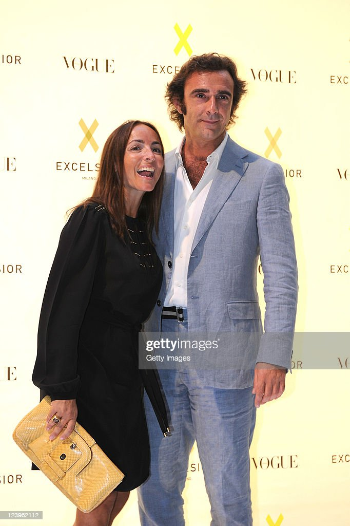 Camila Raznovich and Eugenio Campari attend the opening cocktail party of Excelsior Milano on September 6, 2011 in Milan, Italy.