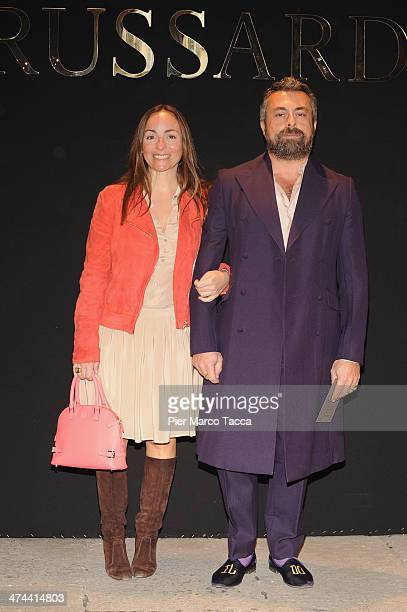 Camila Raznovich and guest attends the Trussardi show as part of Milan Fashion Week Womenswear Autumn/Winter 2014 on February 23 2014 in Milan Italy