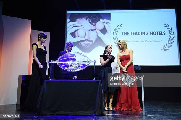 Camila Raznovich and Michelle Hunziker attend Un'Altra Storia Charity Event Benefiting Doppia Difesa during the 9th Rome Film Festival at Capitol...
