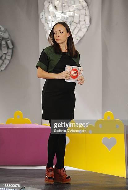 Camila Raznovich attends Mamma Mia Italian TV Show on February 12 2012 in Milan Italy